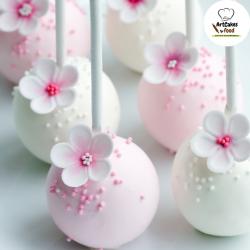 Cakepops blancos y rosas con flor