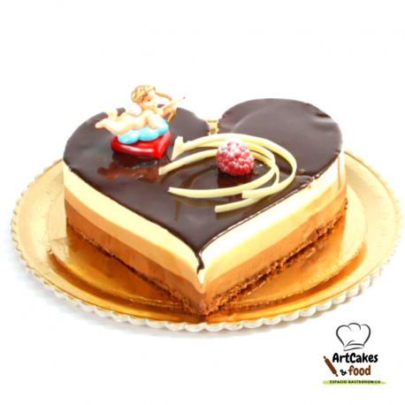 Tarta San Valentín 3 Chocolates