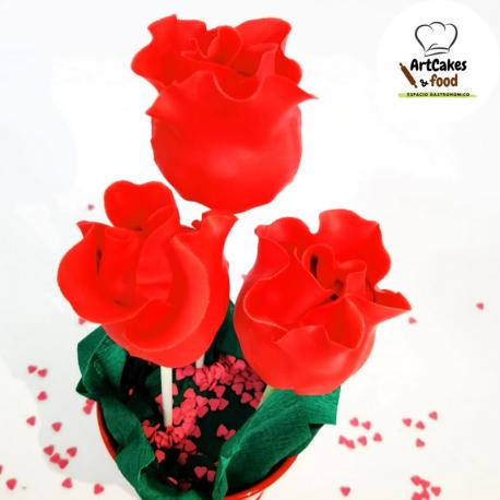 Cakepops Rosas rojas 3 uds MACETA